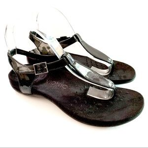 Vionic Paden Black Patent T-strap Sandal Size 9